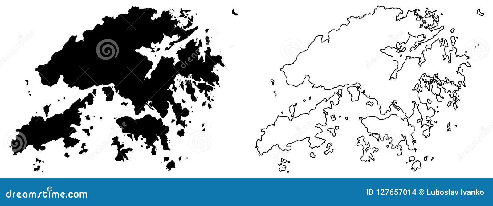 Eenvoudige slechts scherpe hoekenkaart van Hongkong Hong Kong Special A