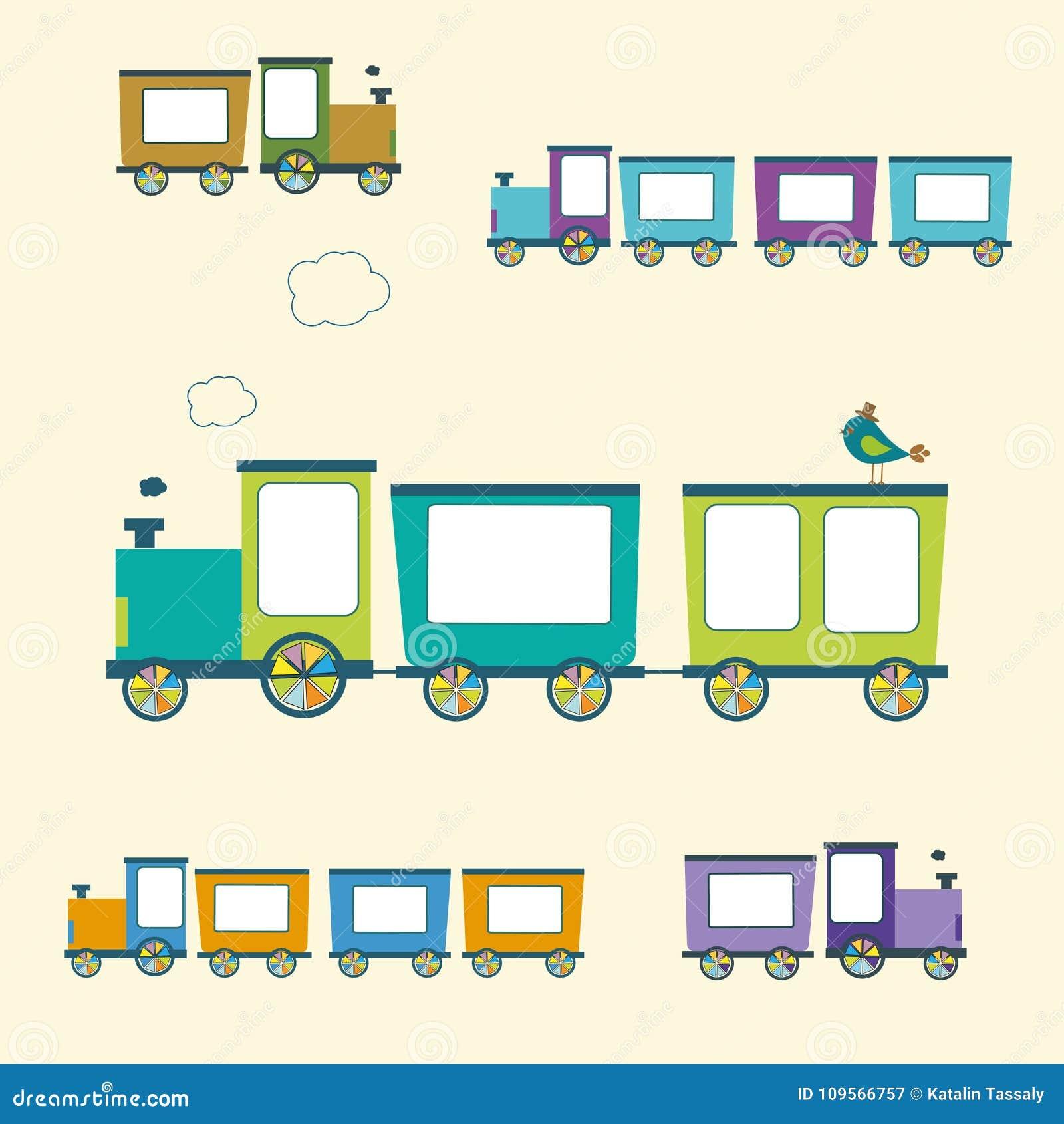 Eenvoudige Stijlkleur Toy Trains en Geplaatste Wagens