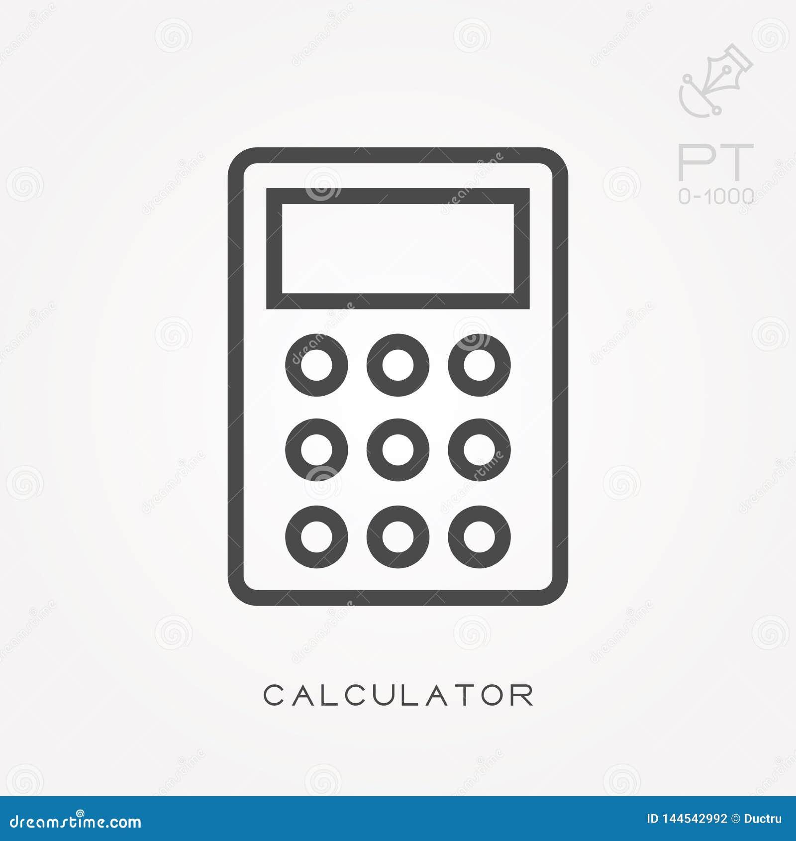 Eenvoudige vectorillustratie met capaciteit te veranderen De calculator van het lijnpictogram