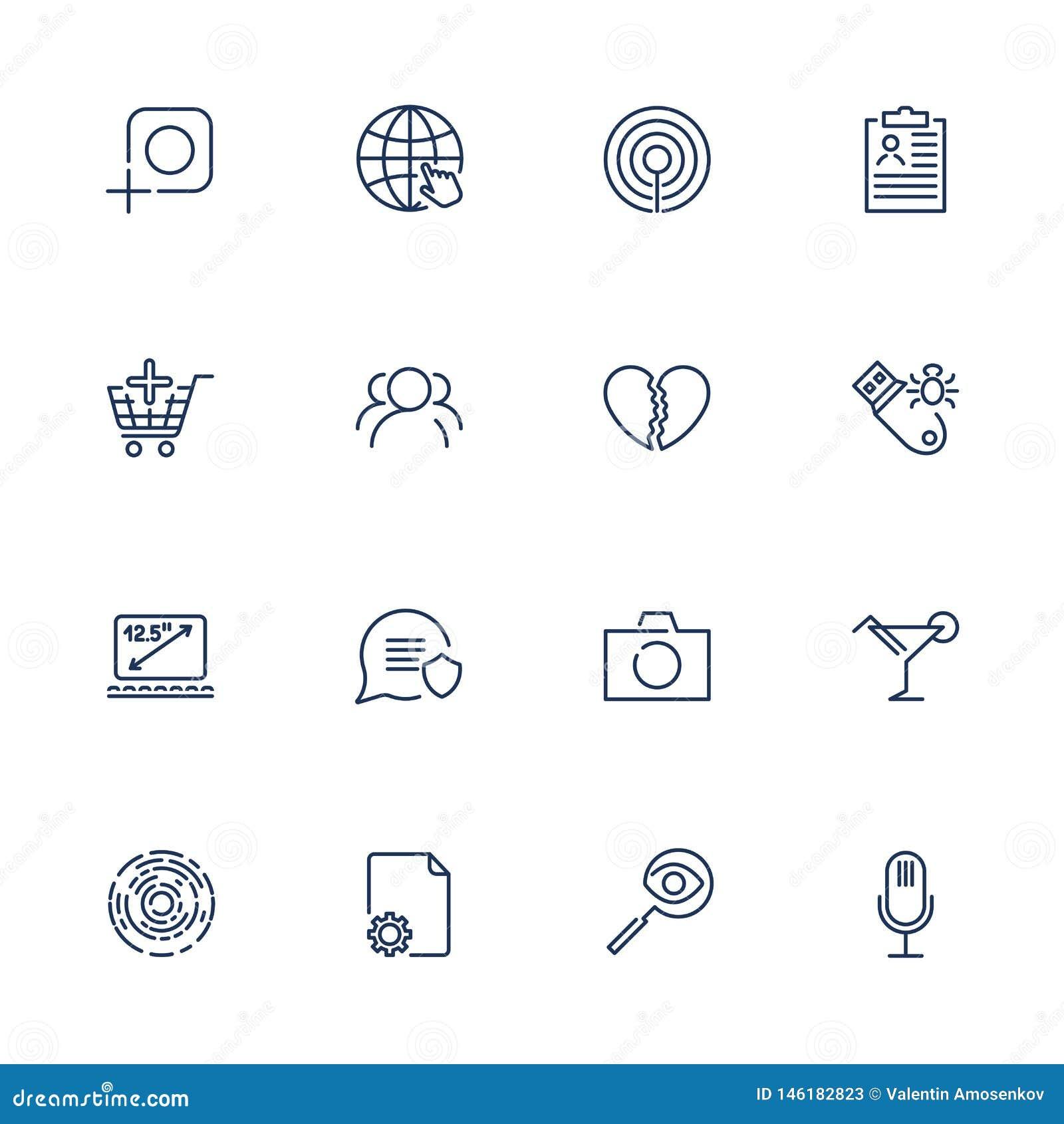 Eenvoudige verschillende UI-pictogrammen voor app, plaatsen, programma s Reeks met lijnpictogrammen Foto, camera, microfoon, lapt