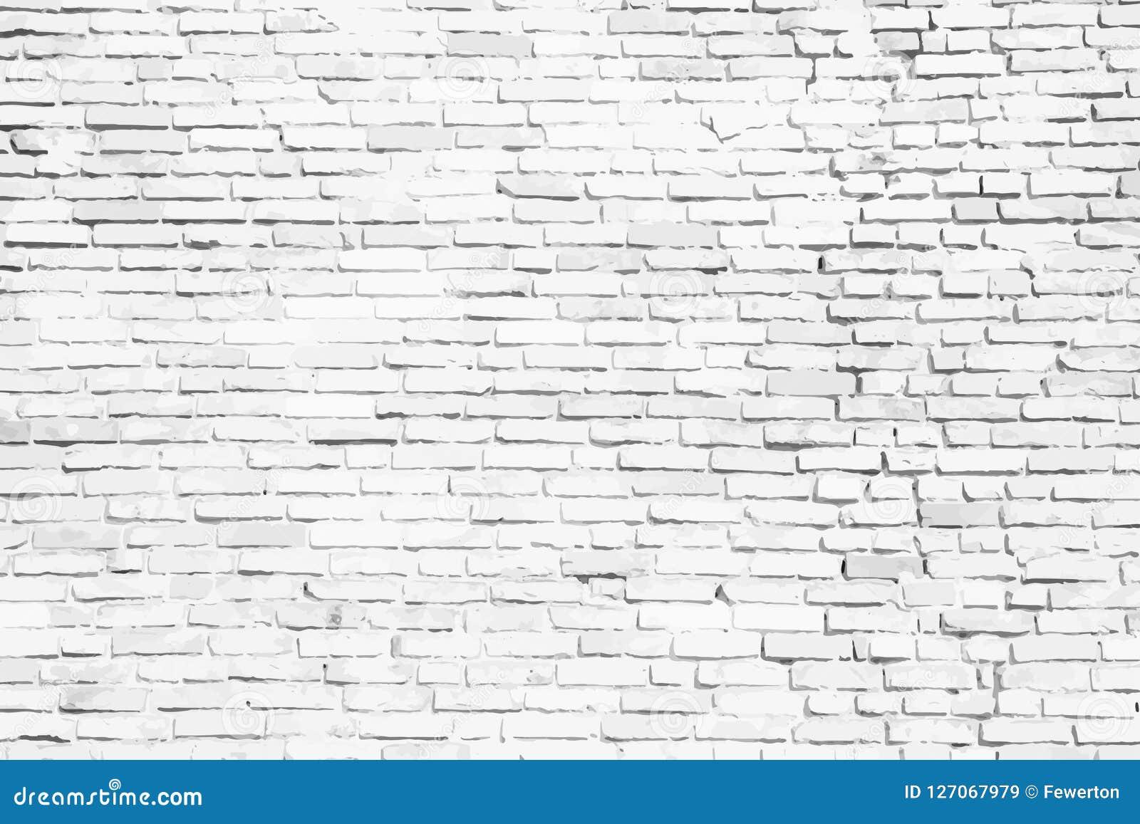Eenvoudige witte en grijze bakstenen muur als naadloze de textuurachtergrond van het oppervlaktepatroon als vectorillustratie