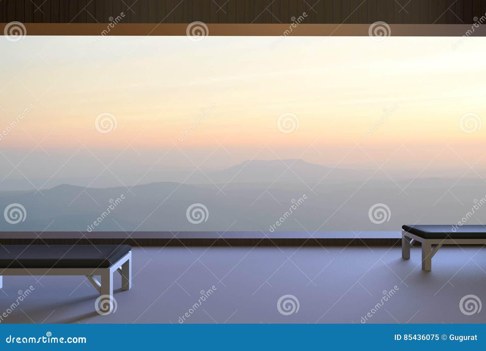 Koraalkleur De Woonkamer : Eenvoudige woonkamer en twee houten stoelen en bergmening buiten