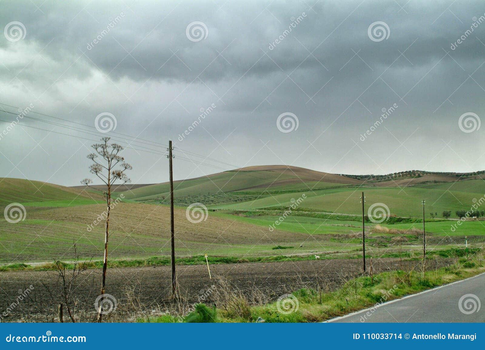 Eenzaam Art Nature Hills onder bewolkte hemel