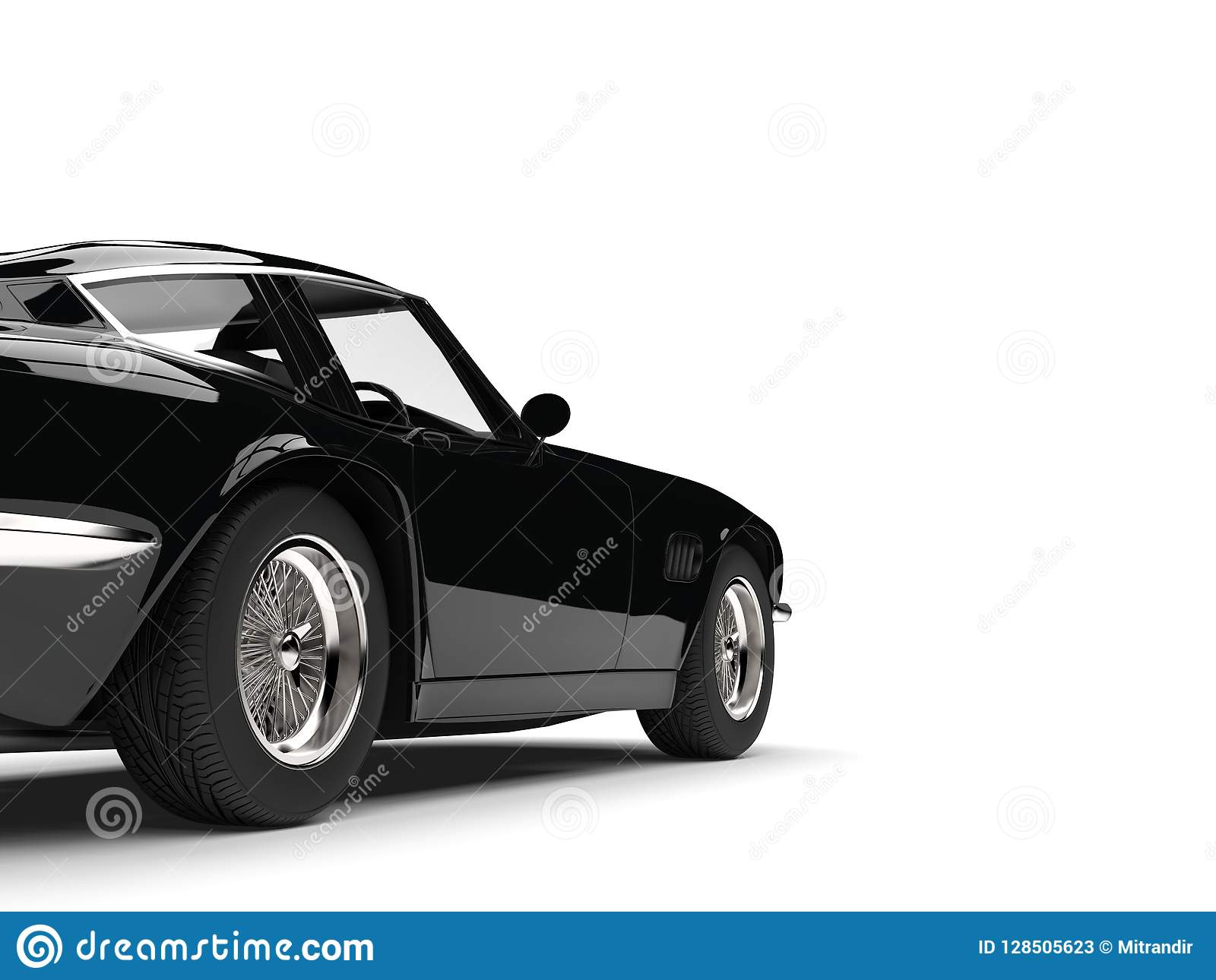 Eerie black vintage race car - rear wheel closeup shot