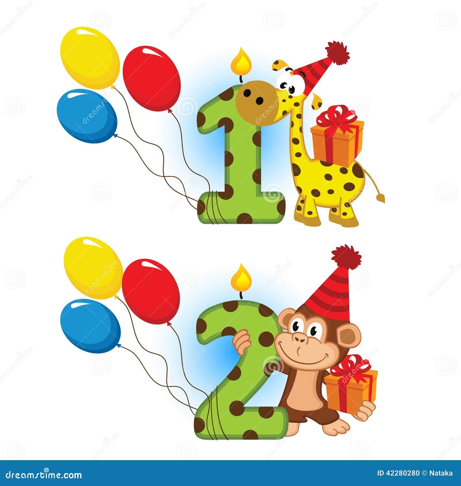 Tweede Verjaardag.Eerst Tweede Verjaardag Met Dier Stock Illustratie