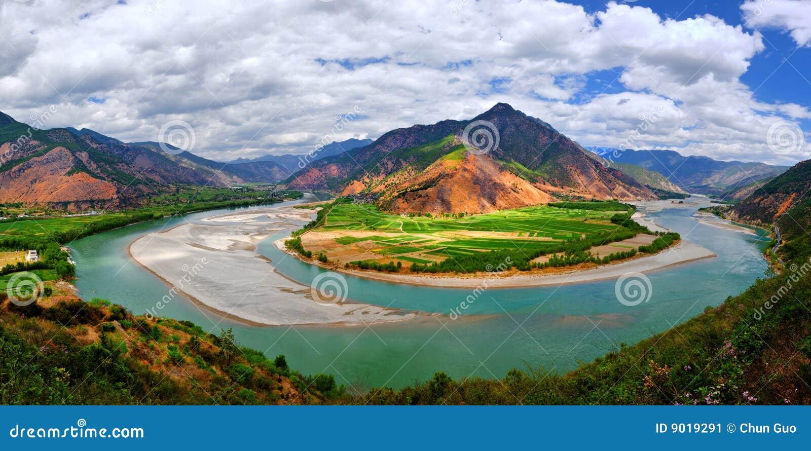 Eerste draai van rivier Yangtze