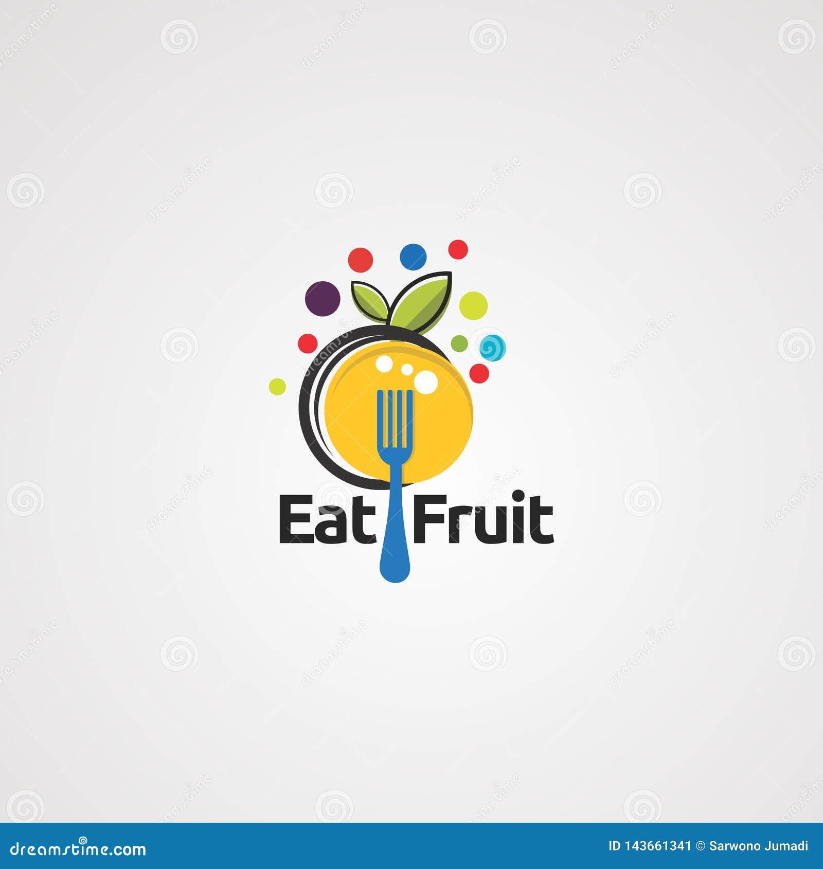 Eet de vector, het pictogram, het element, en het malplaatje van het fruitembleem