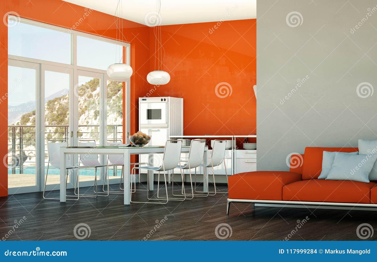 Eetkamer binnenlands ontwerp in strandhuis stock foto afbeelding