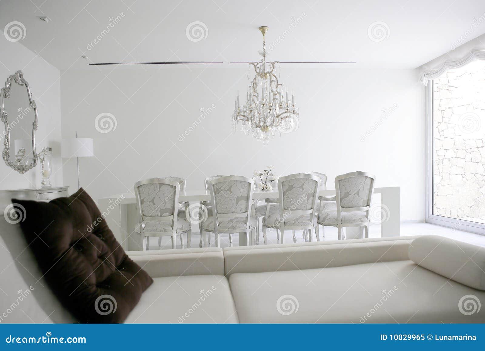 Eetkamer, Het Witte Binnenland Van Het Zitkamergebied Royalty vrije Stock Foto   Afbeelding