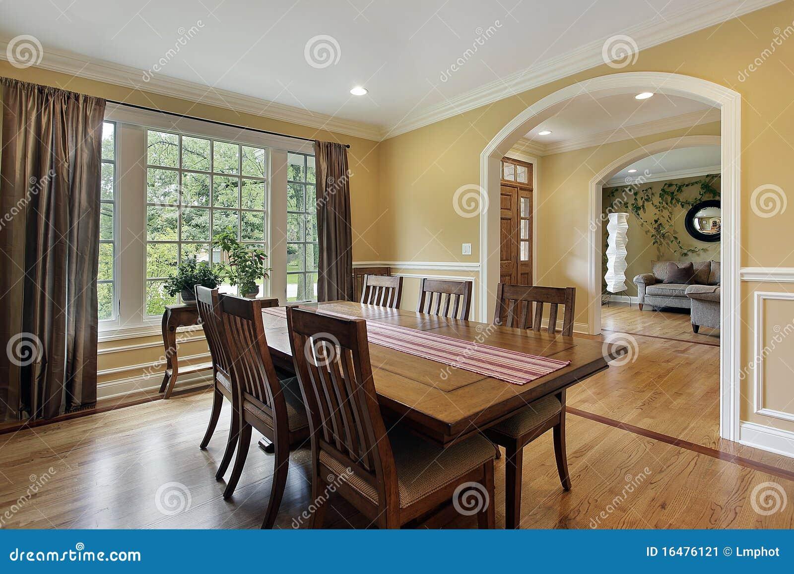 Eetkamer met gele muren