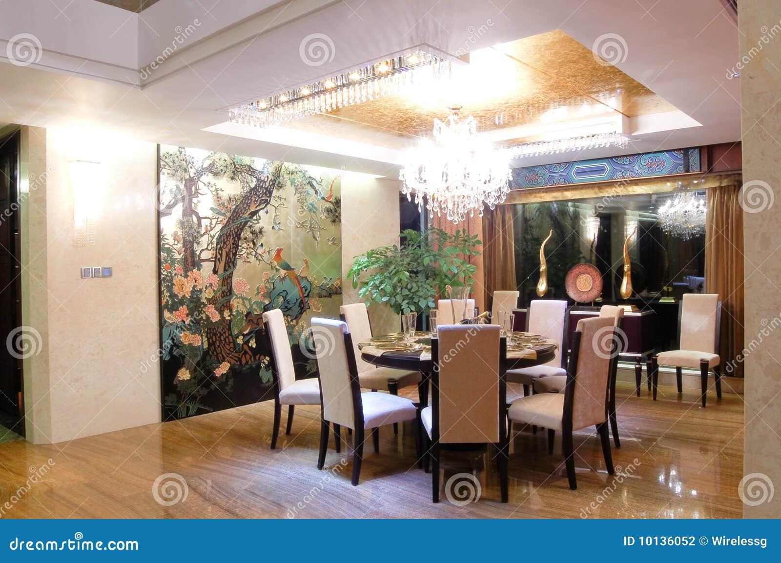 Eetkamer moderne chinese stijl stock foto afbeelding bestaande
