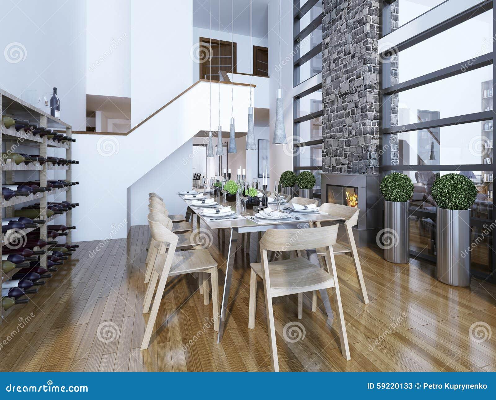 Eetkamer moderne stijl stock afbeelding afbeelding bestaande uit