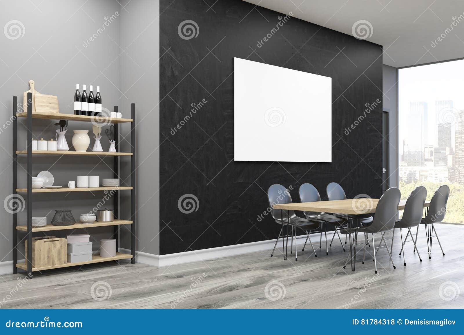 Eetkamer Zijaanzicht: Grote Affiche En Kast Stock Illustratie ...