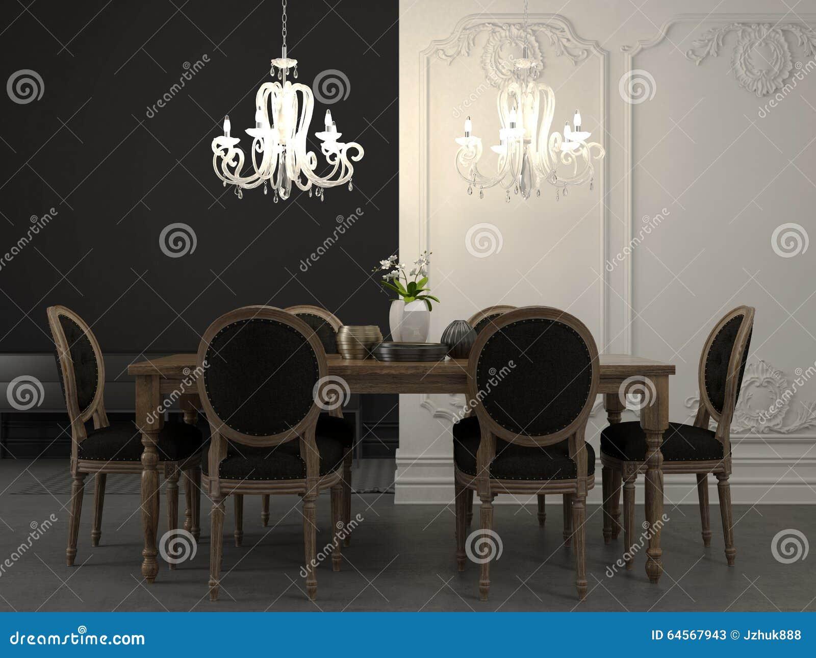 Eettafel en mooie witte kroonluchter stock foto   afbeelding: 64567943
