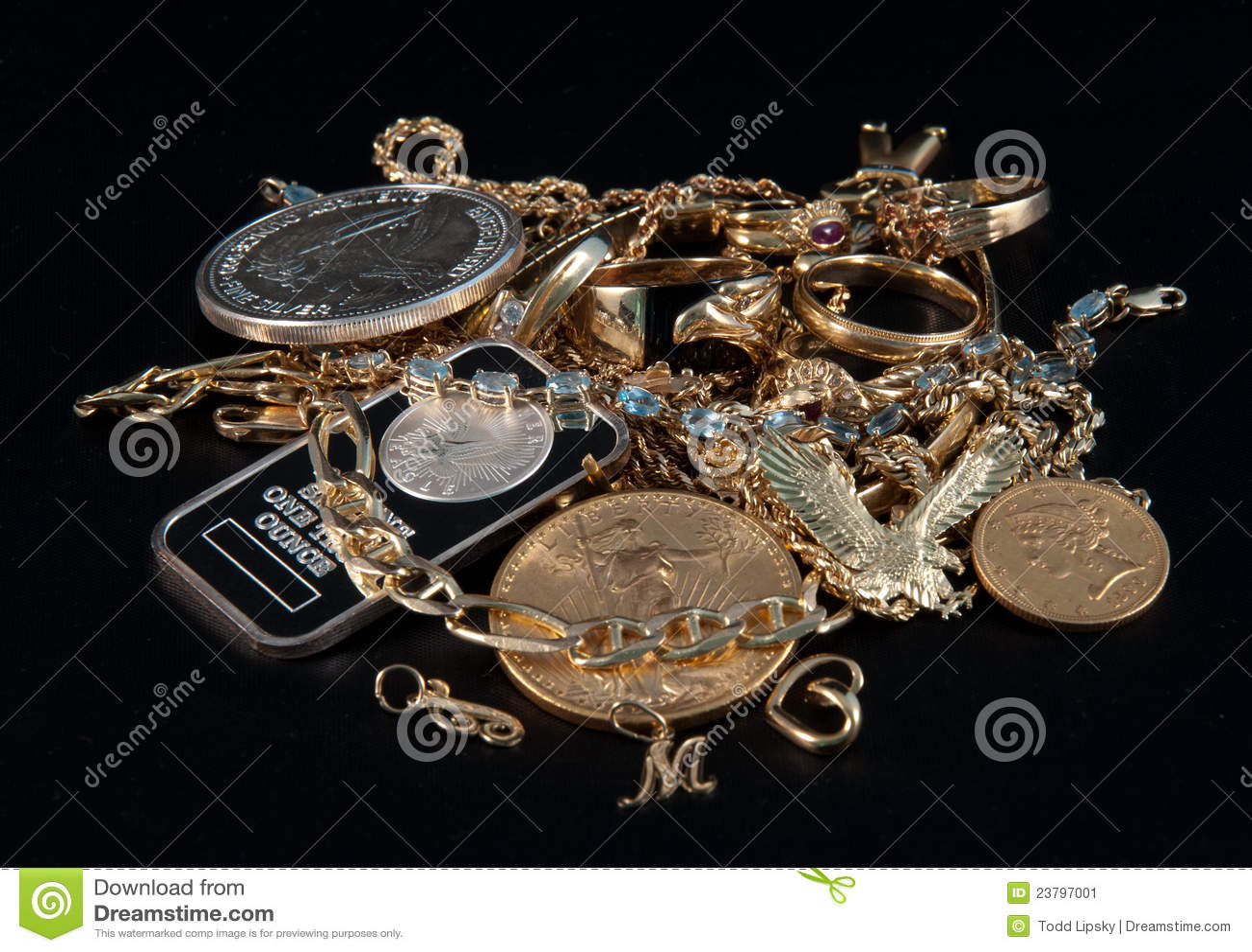 Efectivo para las joyas y el oro