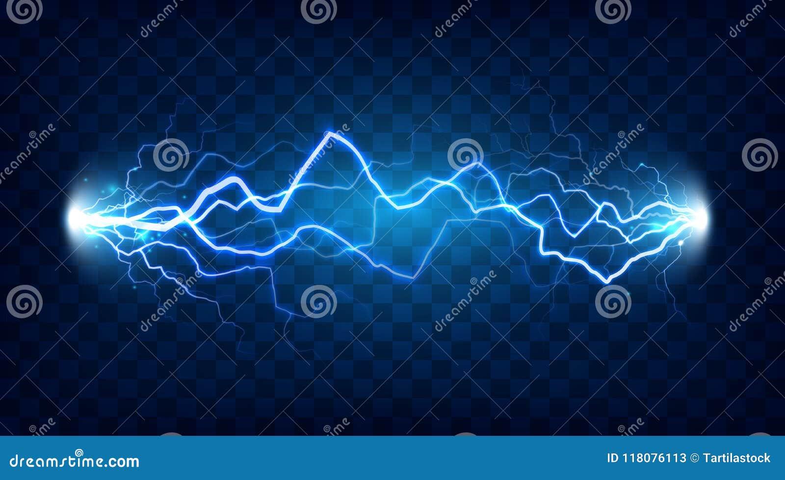 Efecto chocado de la descarga eléctrica para el diseño Accione el relámpago de la energía eléctrica o el vector aislado los efect