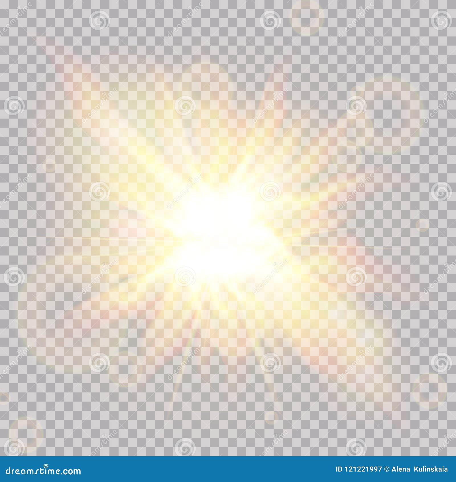 Efecto luminoso de la llamarada de la lente Sun irradia con los haces aislados en fondo transparente Ilustración del vector