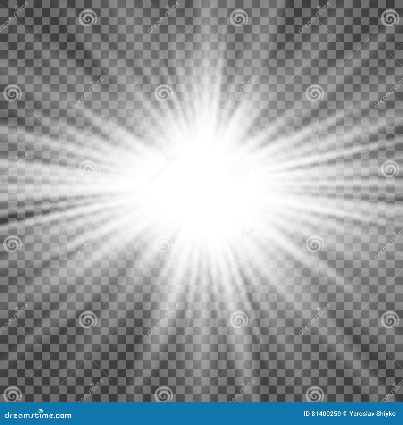 Efecto luminoso de la luz del sol del vector de la llamarada especial transparente de la lente Flash de Sun con los rayos y el pr