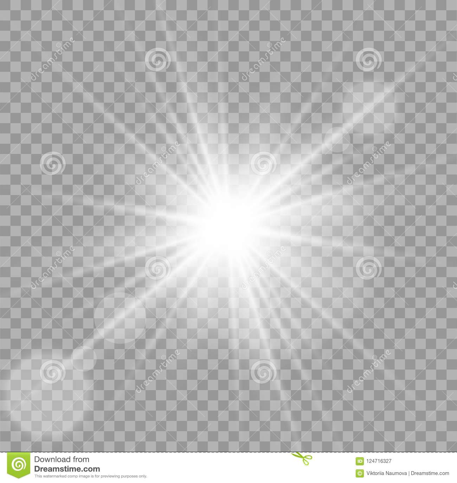 Efecto luminoso especial del brillo blanco de las chispas El vector chispea en fondo transparente Efecto especial de la flama lig
