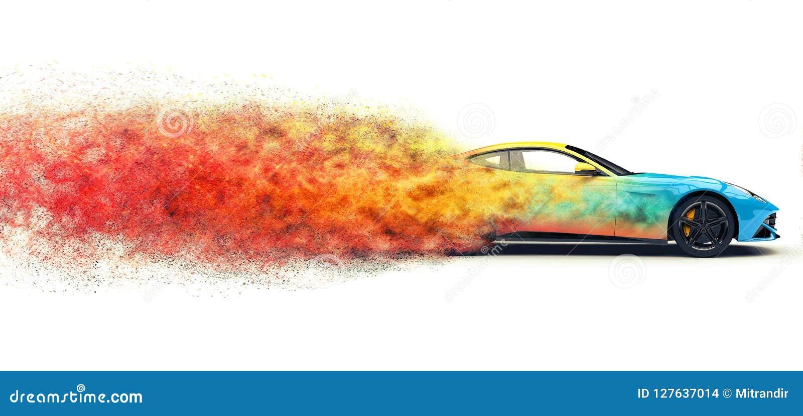 Efeito automobilístico da explosão da partícula dos esportes modernos coloridos