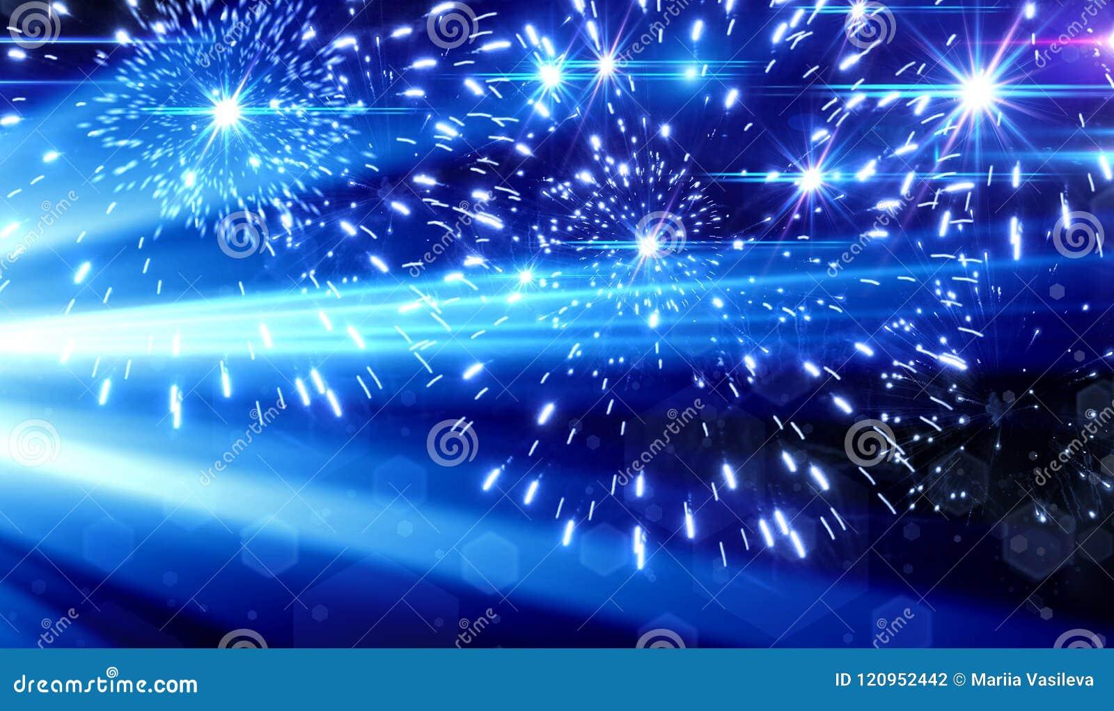 Efeito da luz azul no fundo preto, raios laser, luz instantânea,