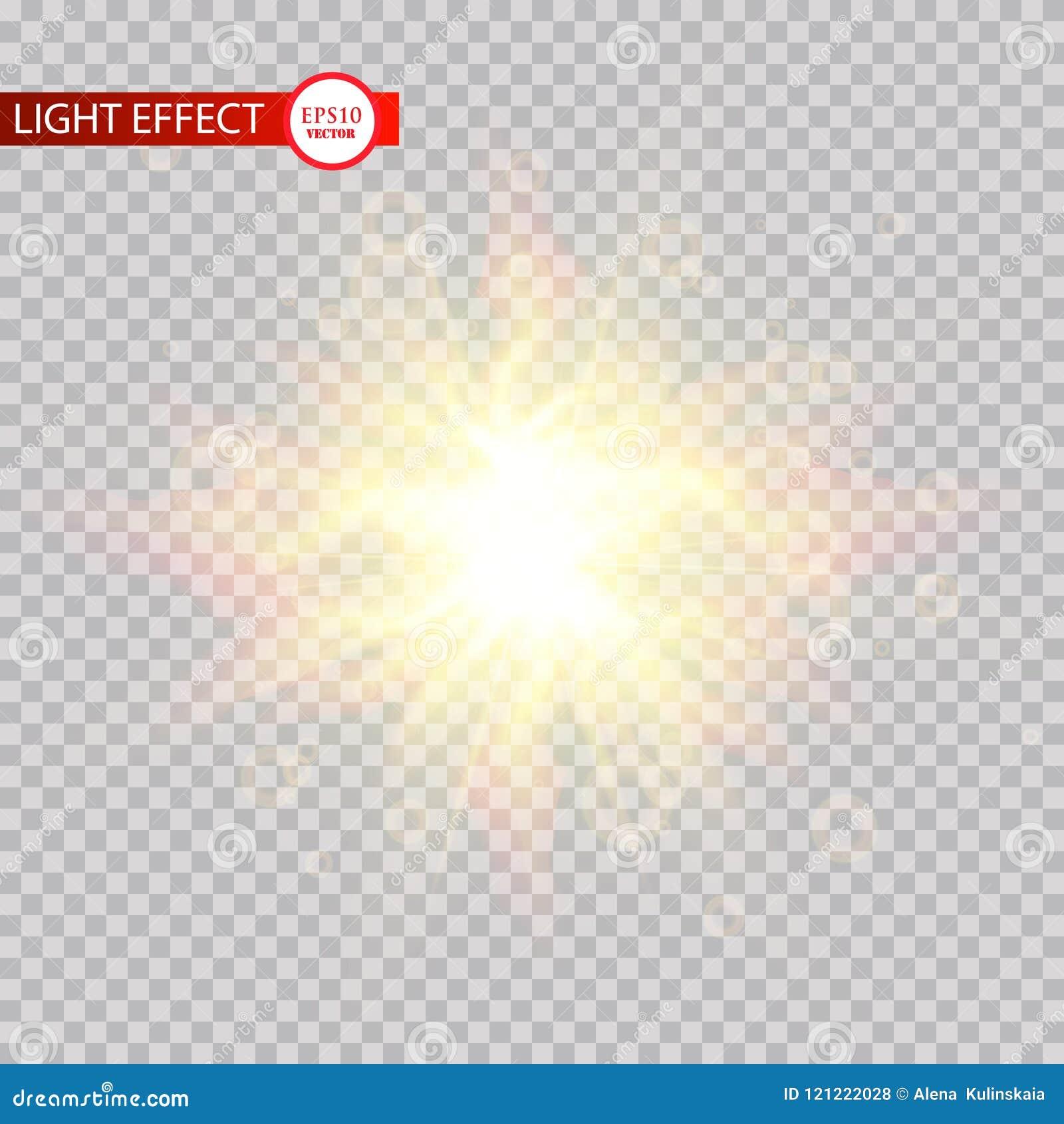 Efeito da luz do alargamento da lente Sun irradia com os feixes isolados no fundo transparente Ilustração do vetor