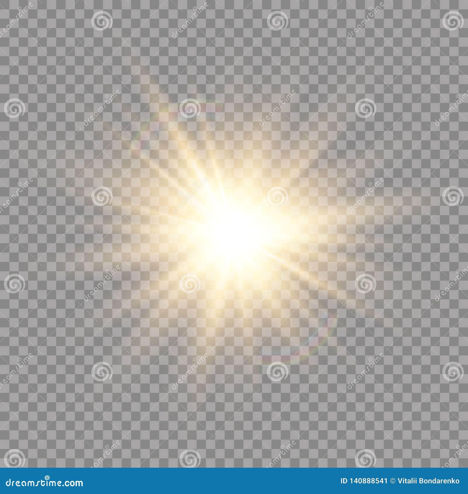 Efeito da luz do fulgor Explosão da estrela com Sparkles Sun Ilustração do vetor