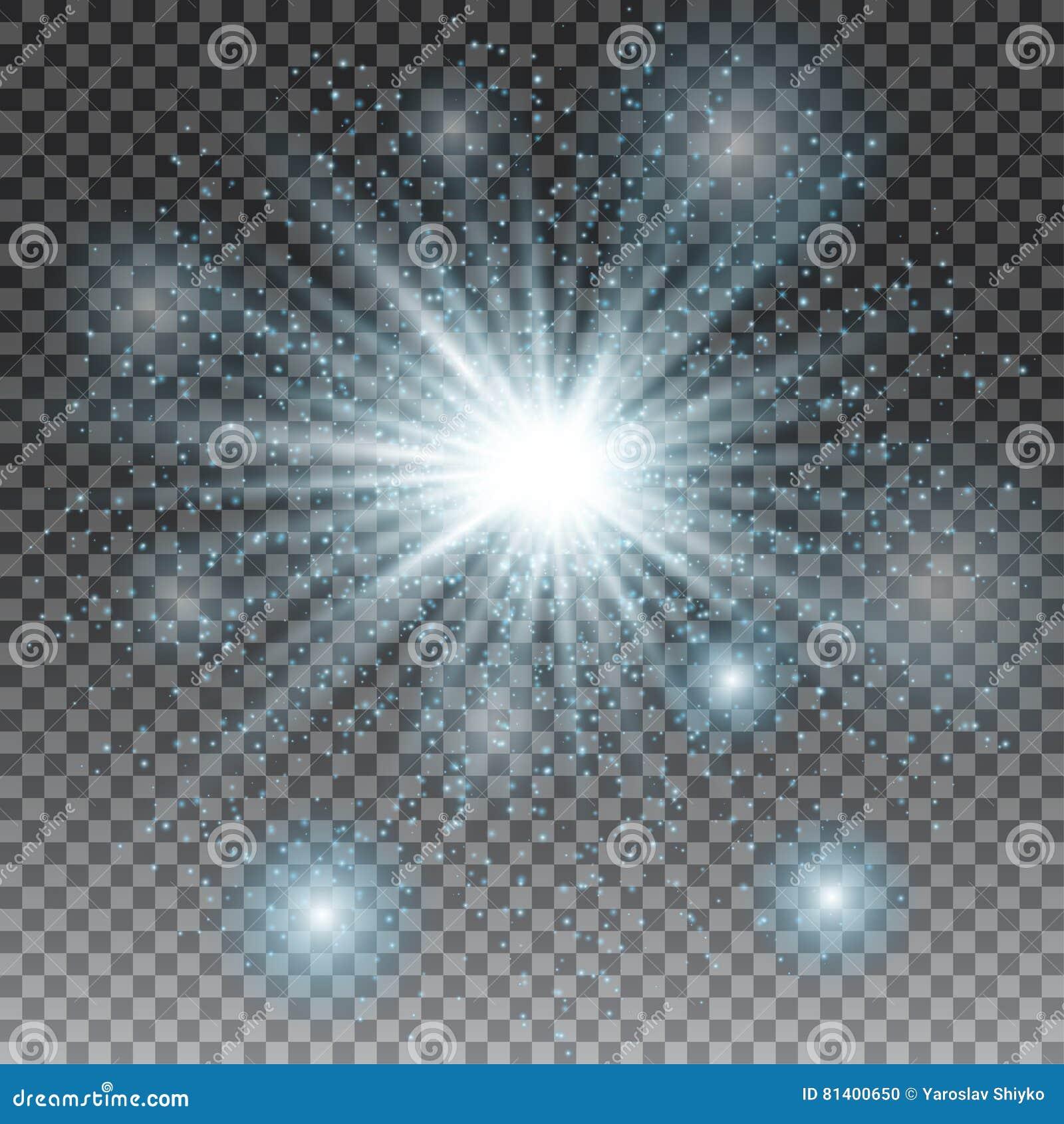 Efeito da luz especial do alargamento da lente da luz solar transparente do vetor Brilho azul Explosão da estrela com Sparkles