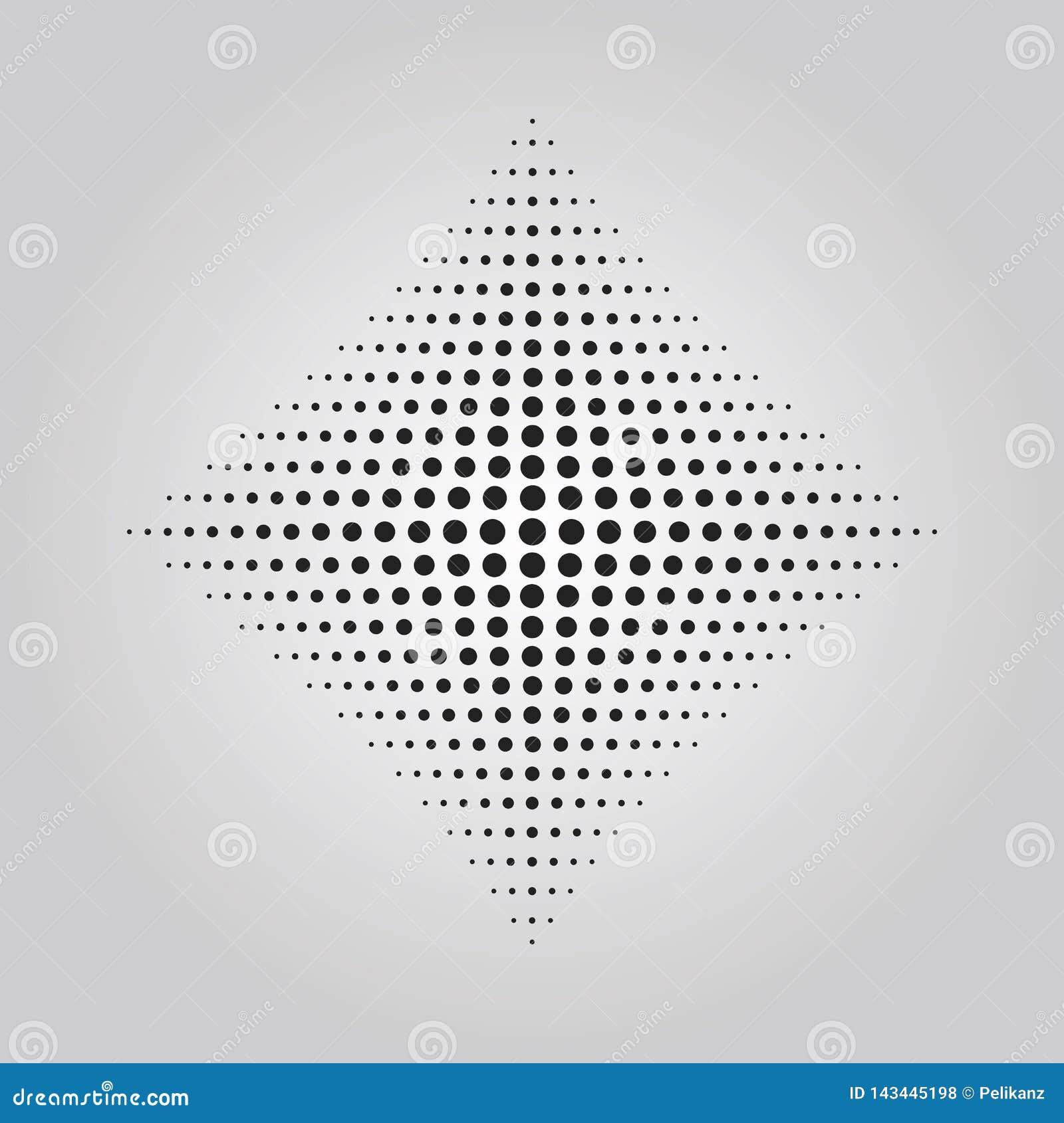 Efeito de intervalo mínimo da técnica dos pontos pretos abstratos na forma do elemento do projeto do rombo