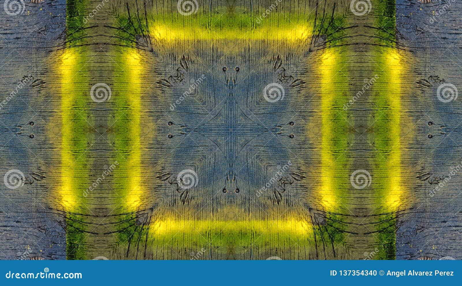 Efeito do espelho em uma placa de madeira azul com linhas amarelas