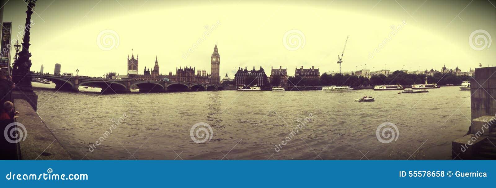 Efeito do vintage de Tamisa do rio de ben grande do panorama para o cartão Londres Reino Unido