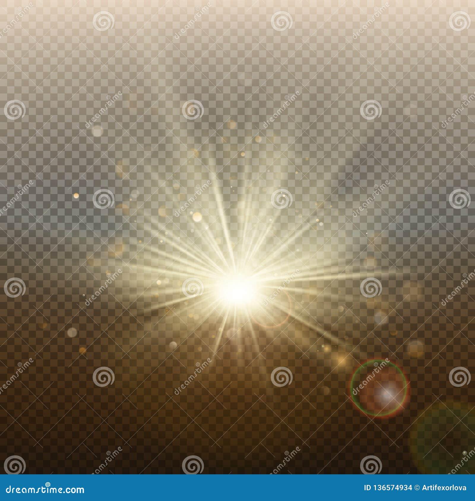 Efeito instantâneo brilhante de incandescência dourado do por do sol ou do nascer do sol Explosão morna com raios e projetor Mold