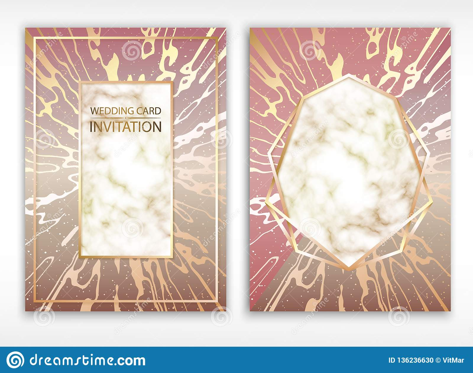 Vector. Background of rose gold. Wedding card. Detailed texture of marble. Grainy surface. Golden border.