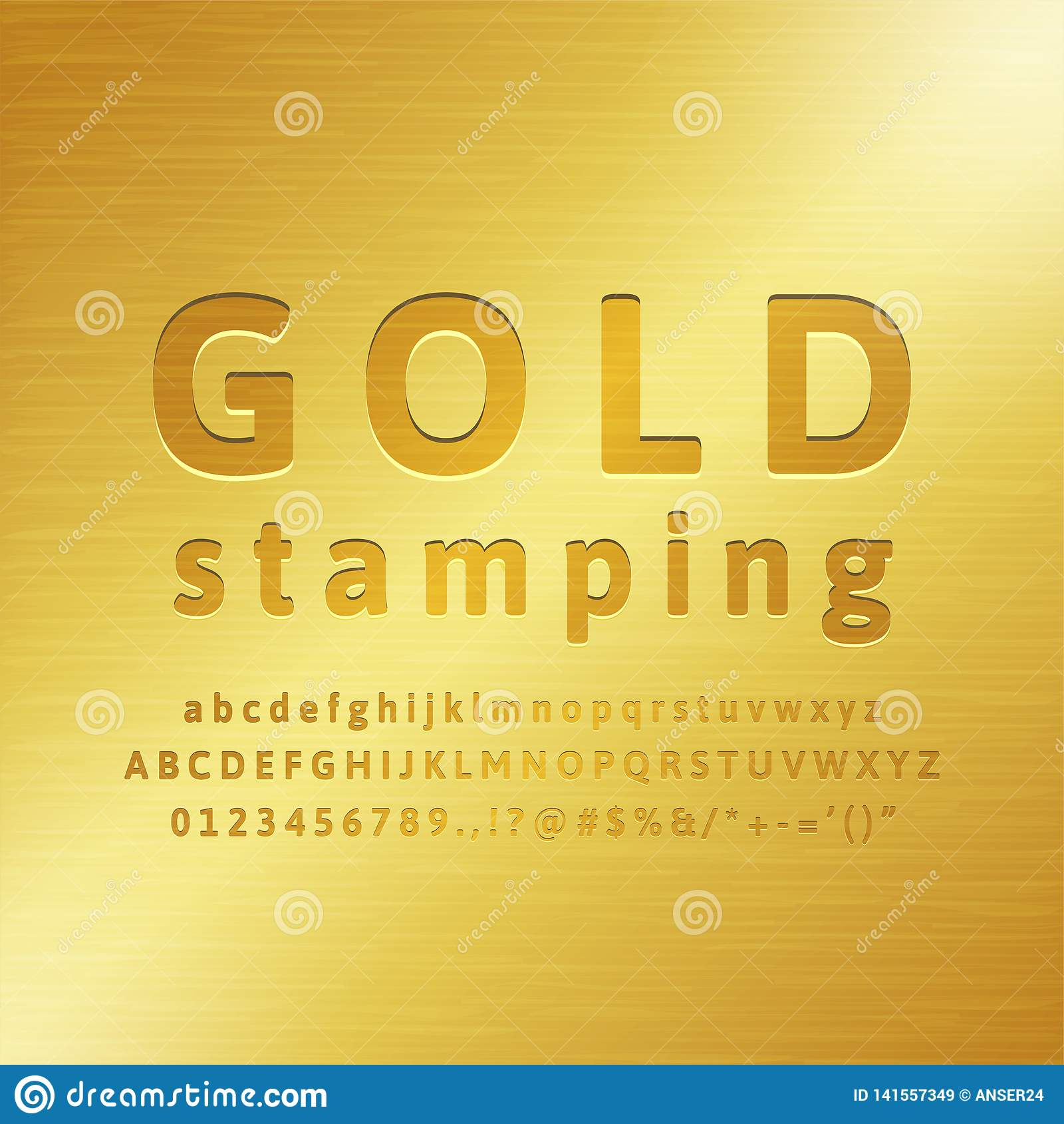 Effekt för stilsort för guld- stämpling för alfabet 3d