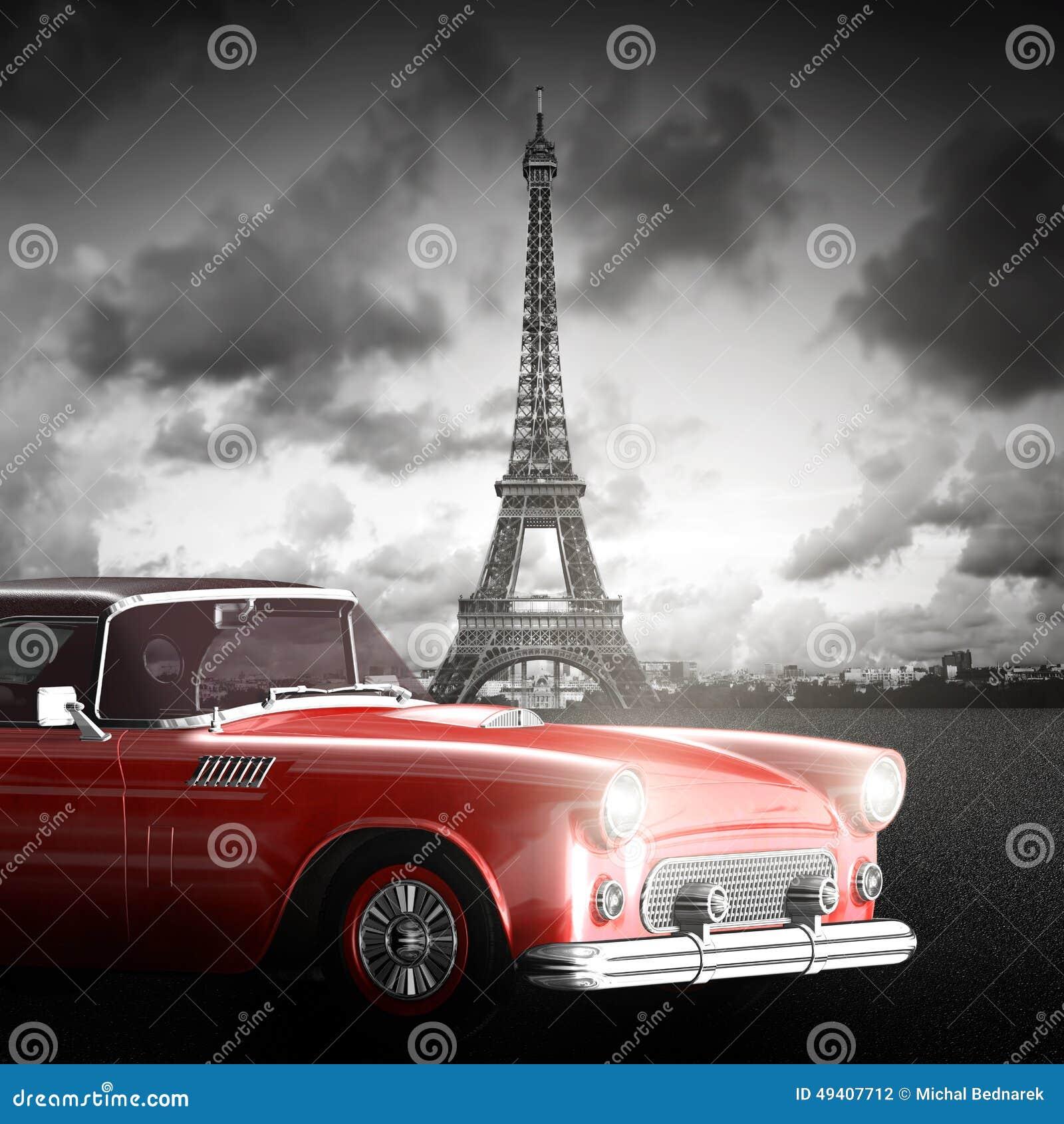 Effel torn, Paris, Frankrike och retro röd bil