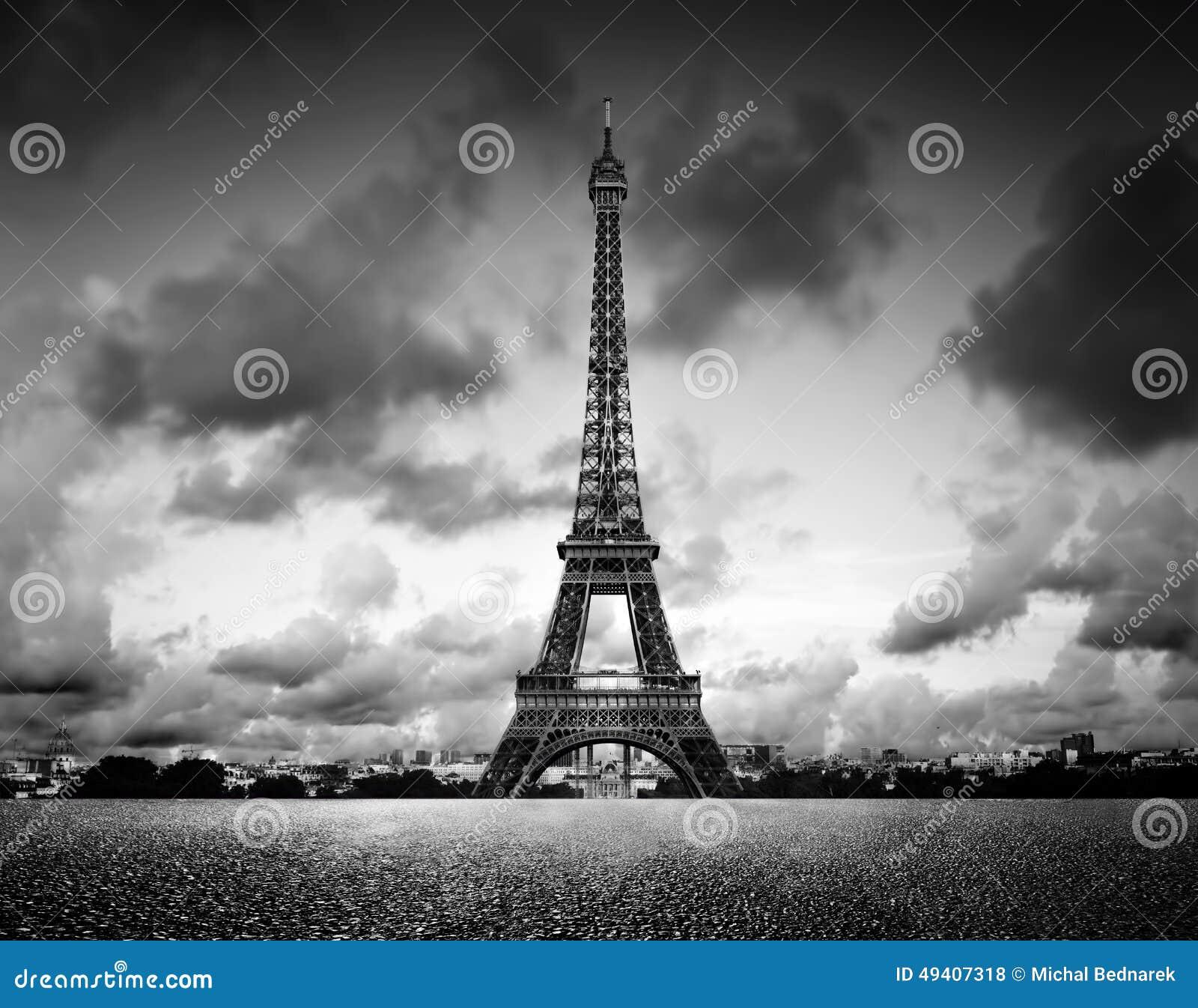 Effel torn, Paris, Frankrike Svartvitt tappning