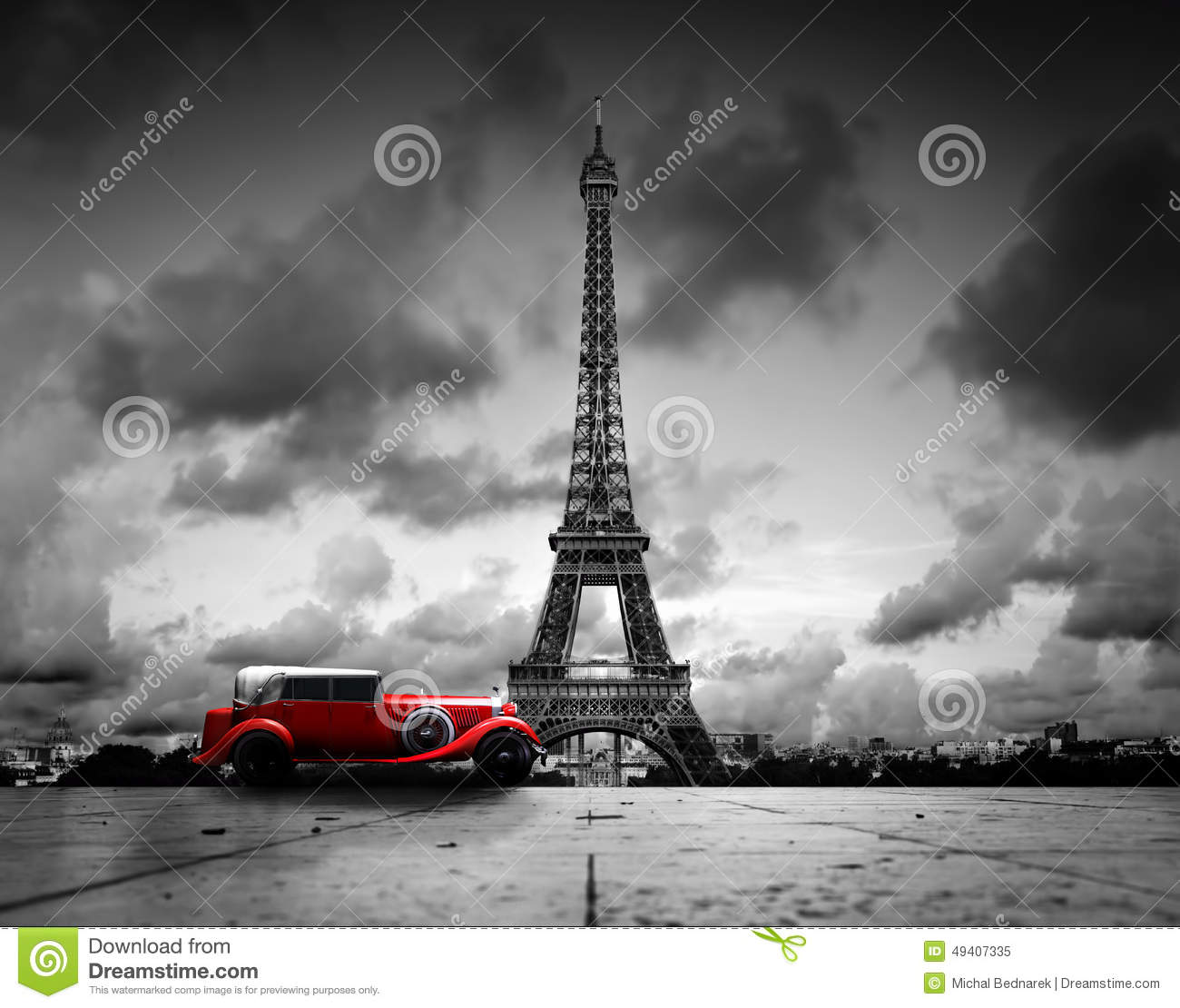 Effel Tower, Paris, France And Retro Red Car. Stock Image