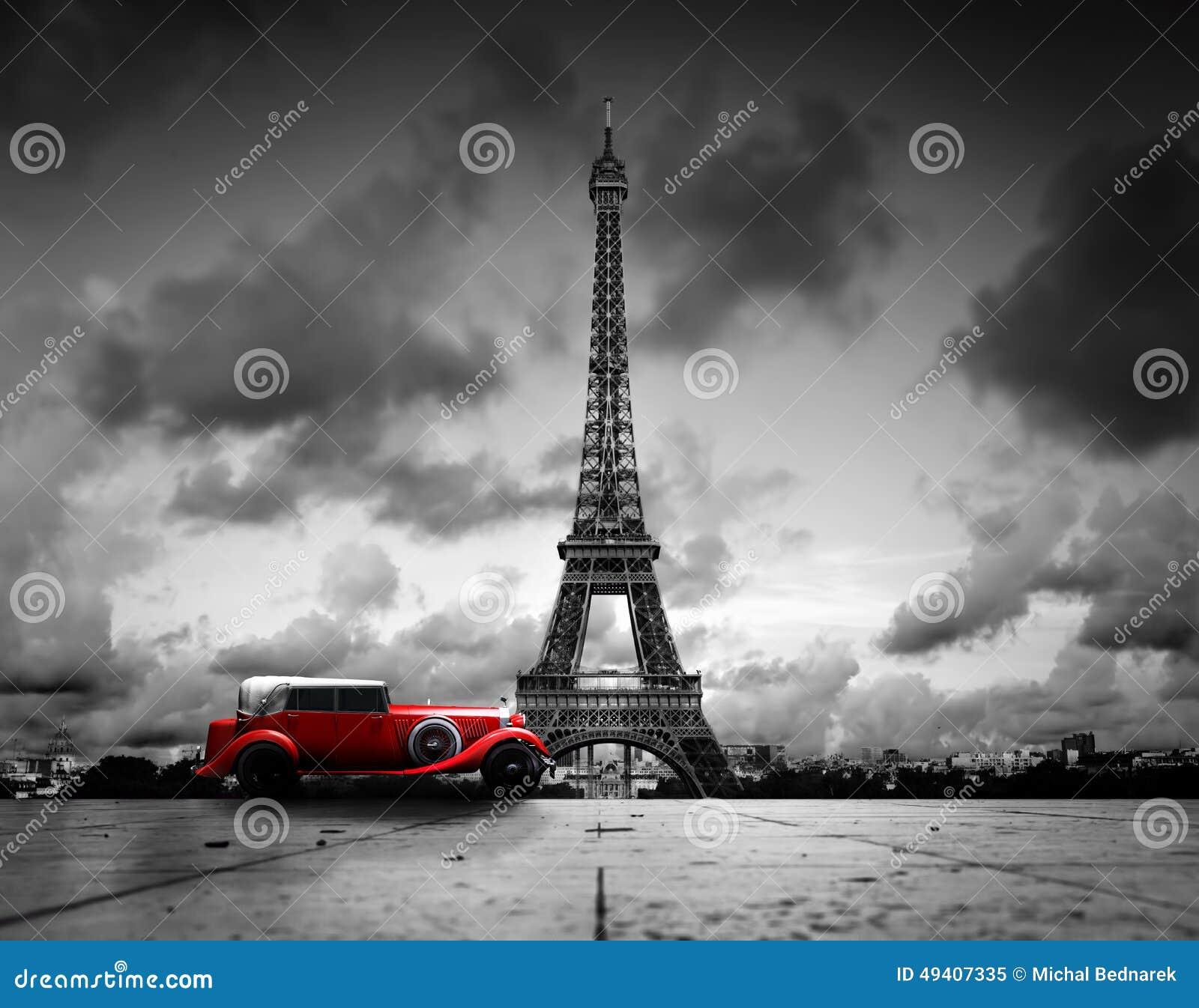 Download Effel-Turm, Paris, Frankreich Und Retro- Rotes Auto Stockbild - Bild von französisch, postkarte: 49407335
