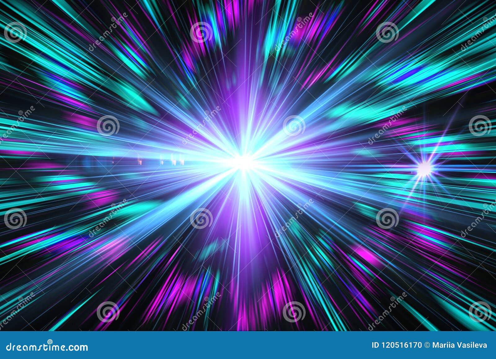 Effet de la lumière bleu, résumé, éclat d étoile, éclair, à rayon laser, glit