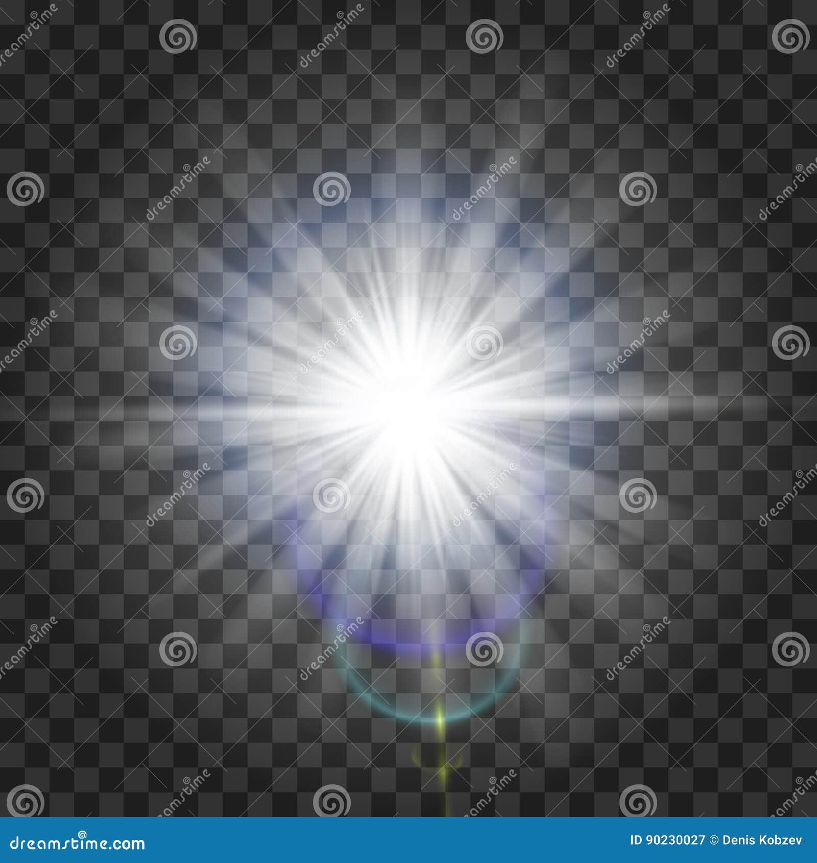 Effet de la lumière de lueur Starburst avec des étincelles sur le fond transparent Illustration de vecteur Sun Éclair de Noël dus