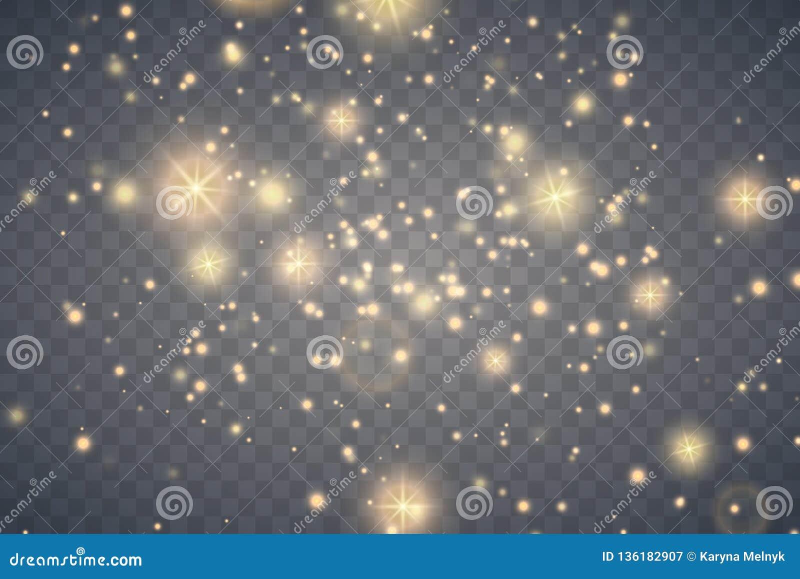 Effet de la lumière de lueur La poussière d étincelle d or