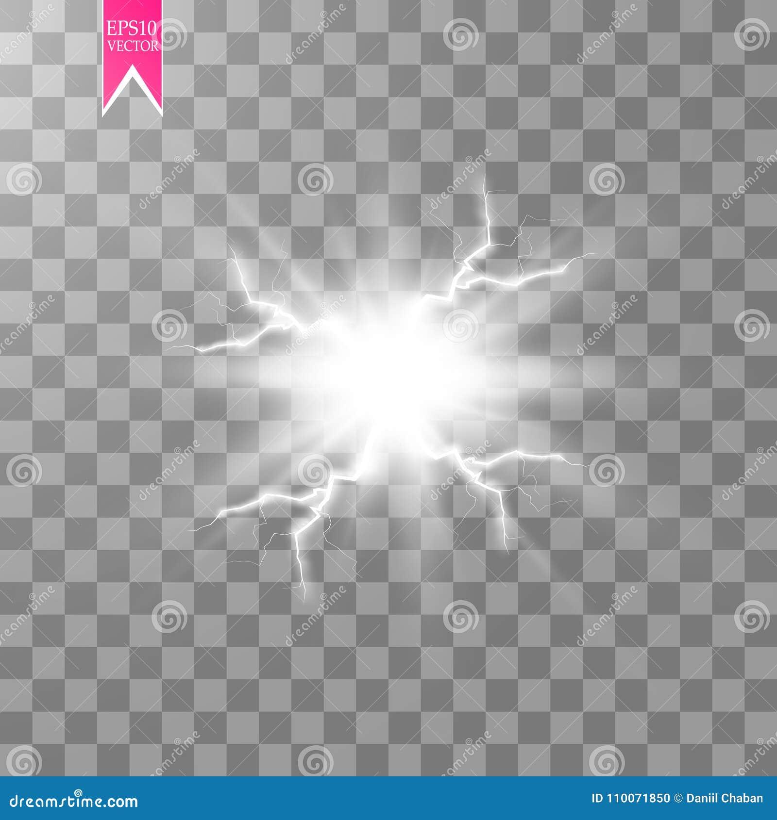 Effet de la lumière spécial d énergie d explosion abstraite blanche de choc avec l étincelle Groupe de foudre de puissance de lue