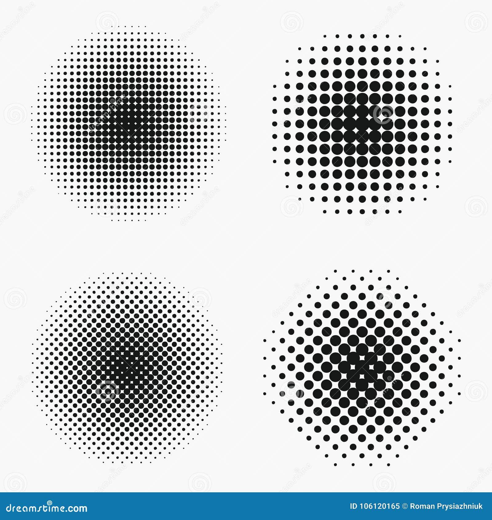 Effets tramés de cercle réglés Le monochrome pointille le demi-ton