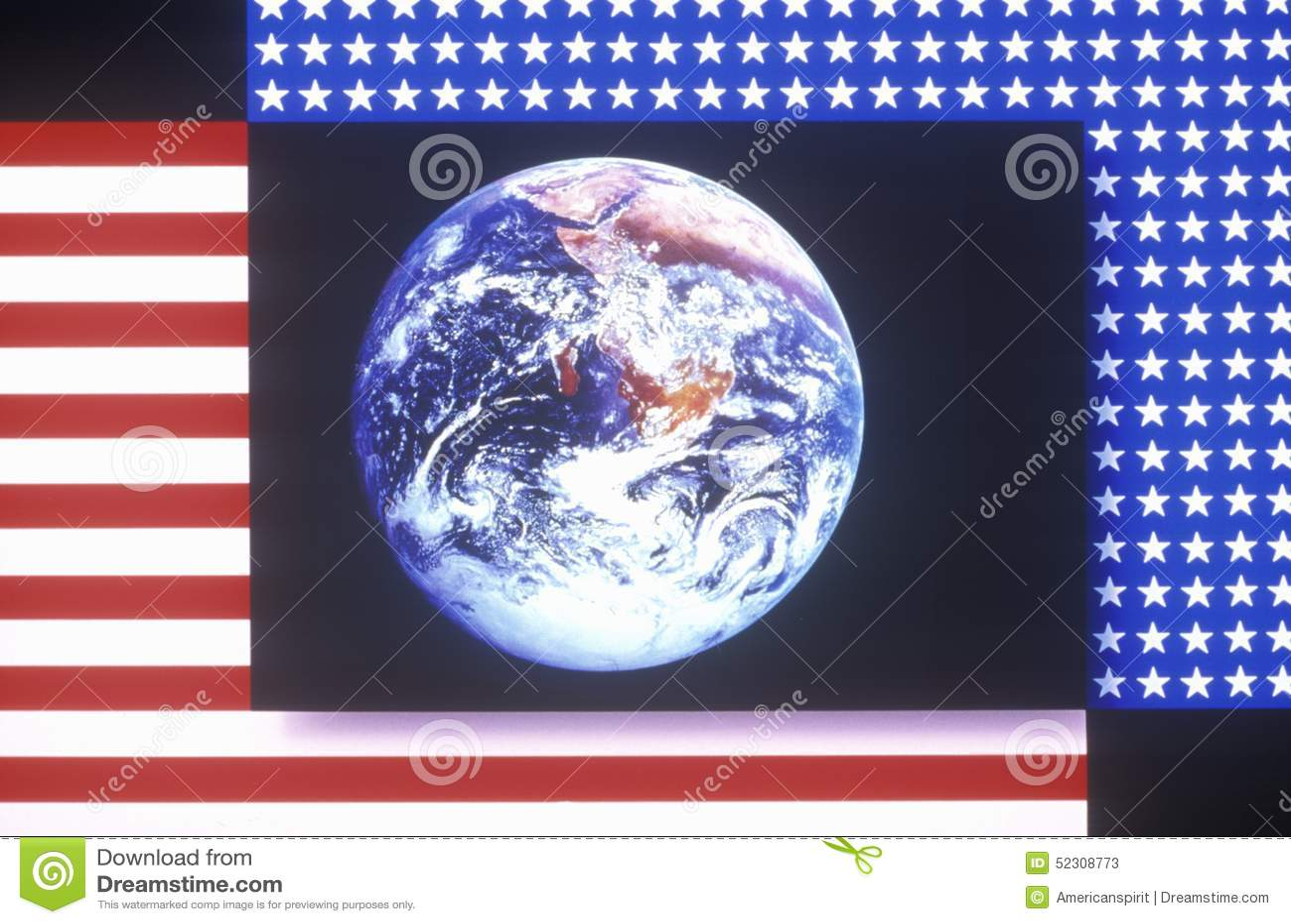 Effetti Speciali Bandiera Americana Ed Il Pianeta Terra Immagine