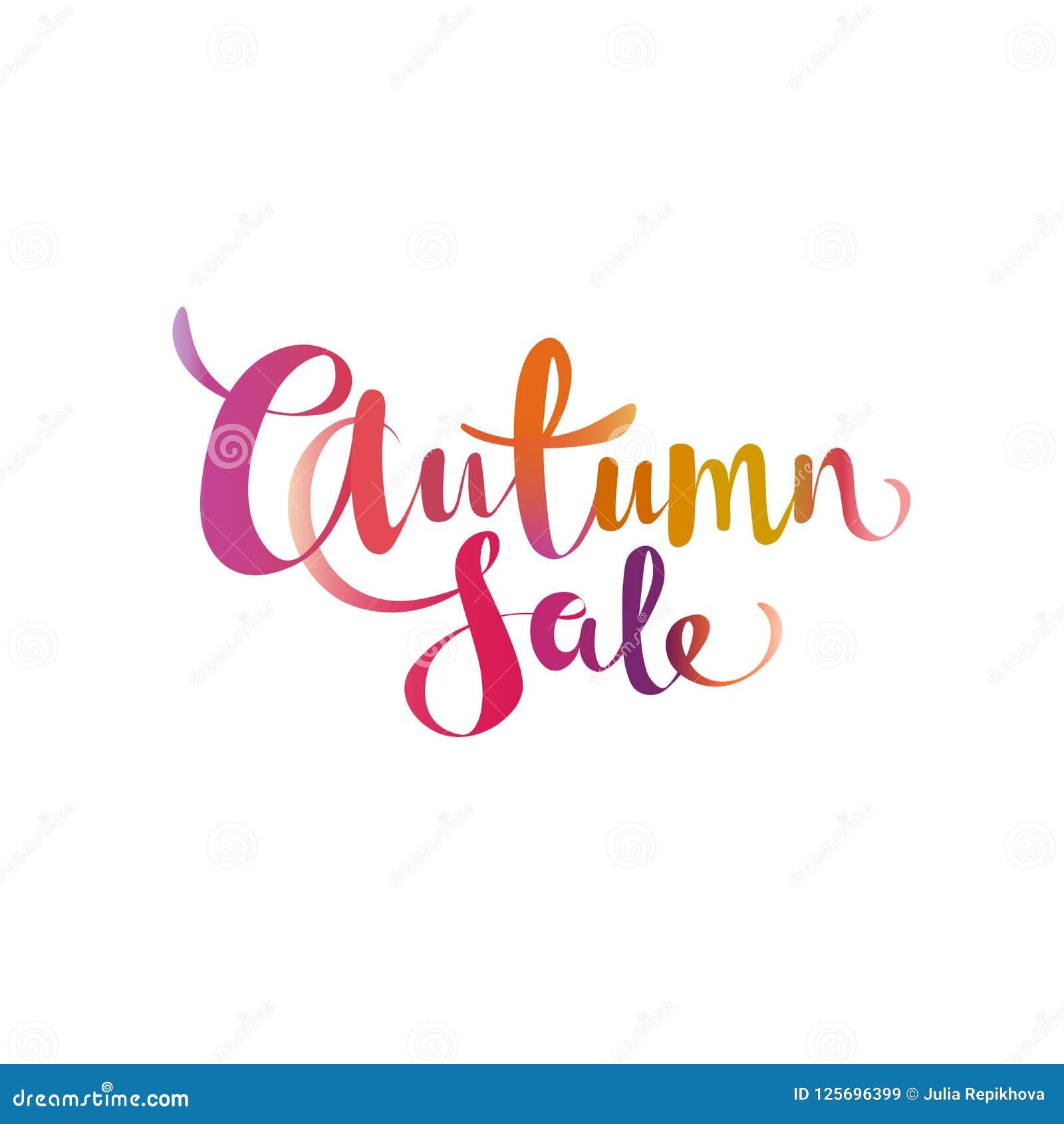 Effetto dell acquerello di pendenza di vendita di autunno che segna progettazione con lettere di offerta di promo