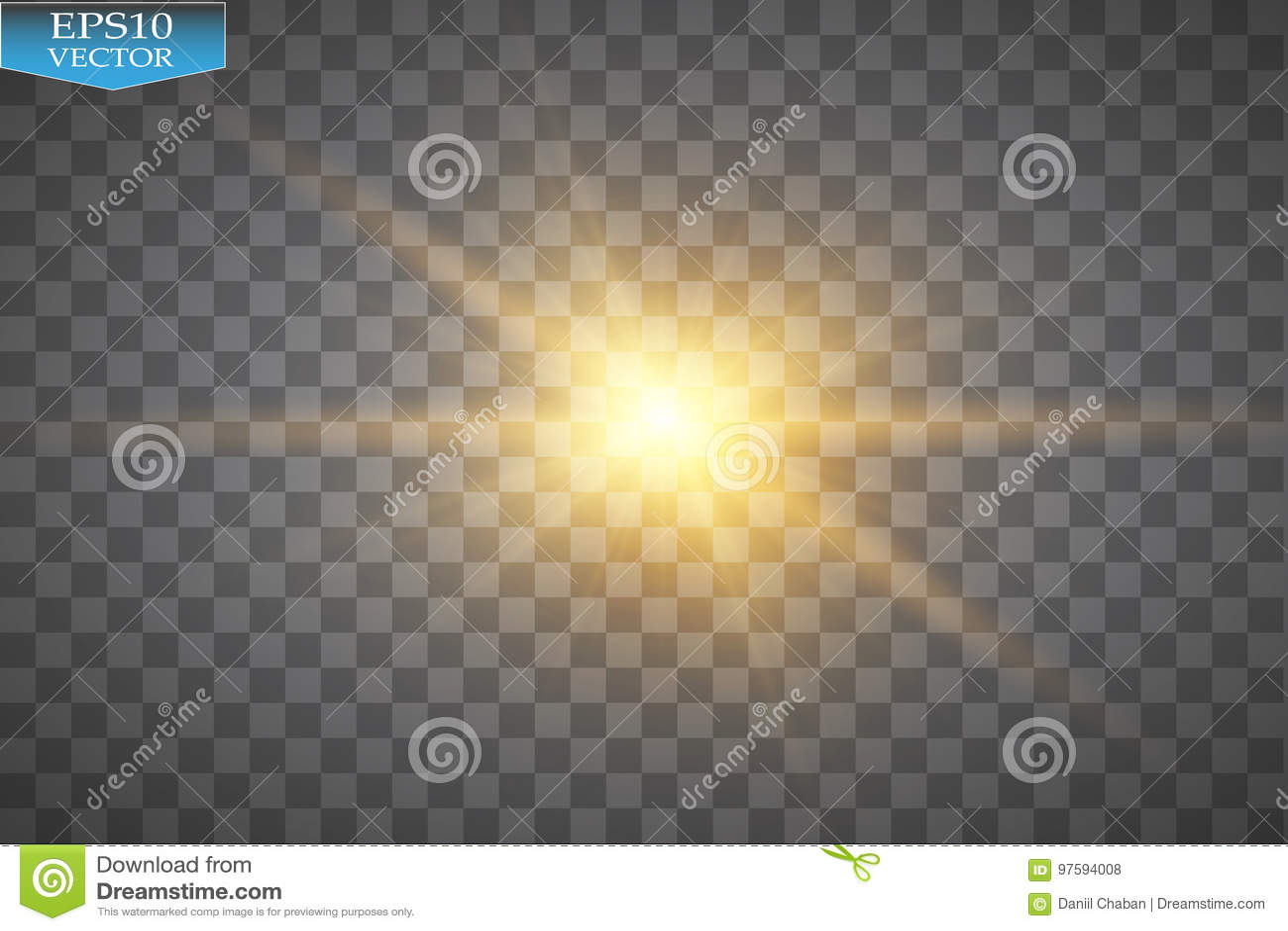 Effetto della luce di incandescenza Starburst con le scintille su fondo trasparente Illustrazione di vettore