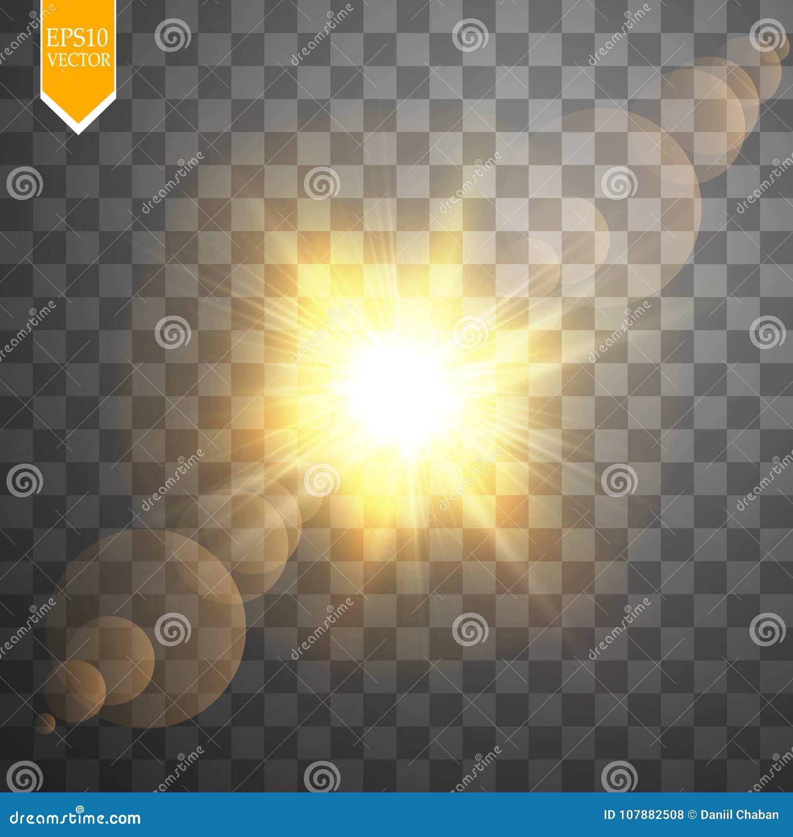 Effetto della luce speciale del chiarore della lente di luce solare trasparente di vettore Flash di Sun con i raggi ed il riflett