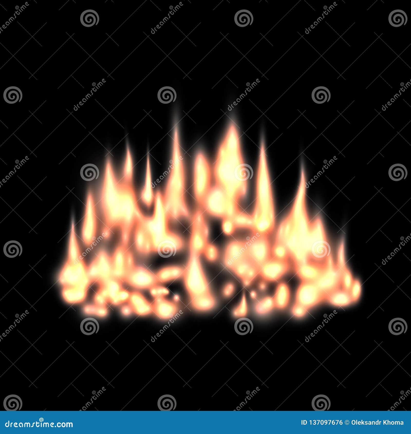 Effetto della luce vago del fuoco, camino del fondo con le fiamme roventi, tizzone o carboni di fuoco senza fiamma