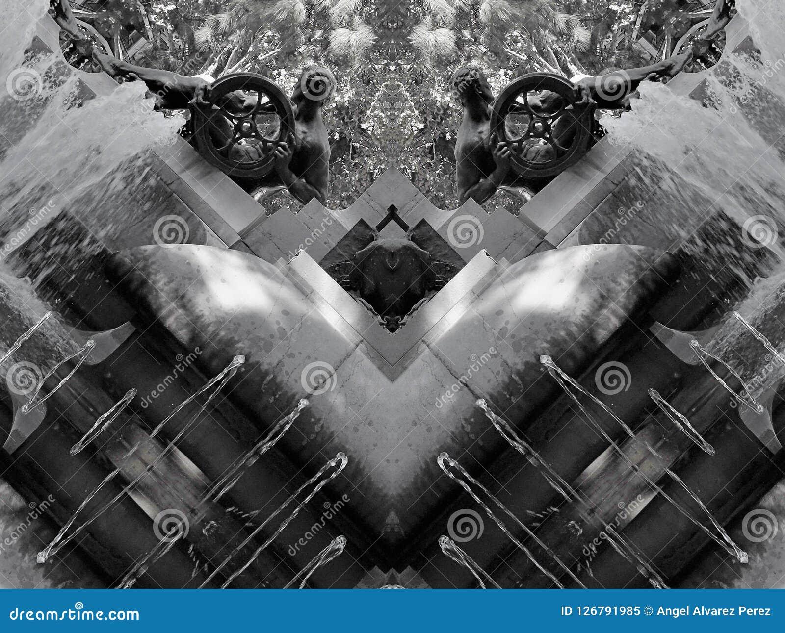 Effetto dello specchio di una fontana