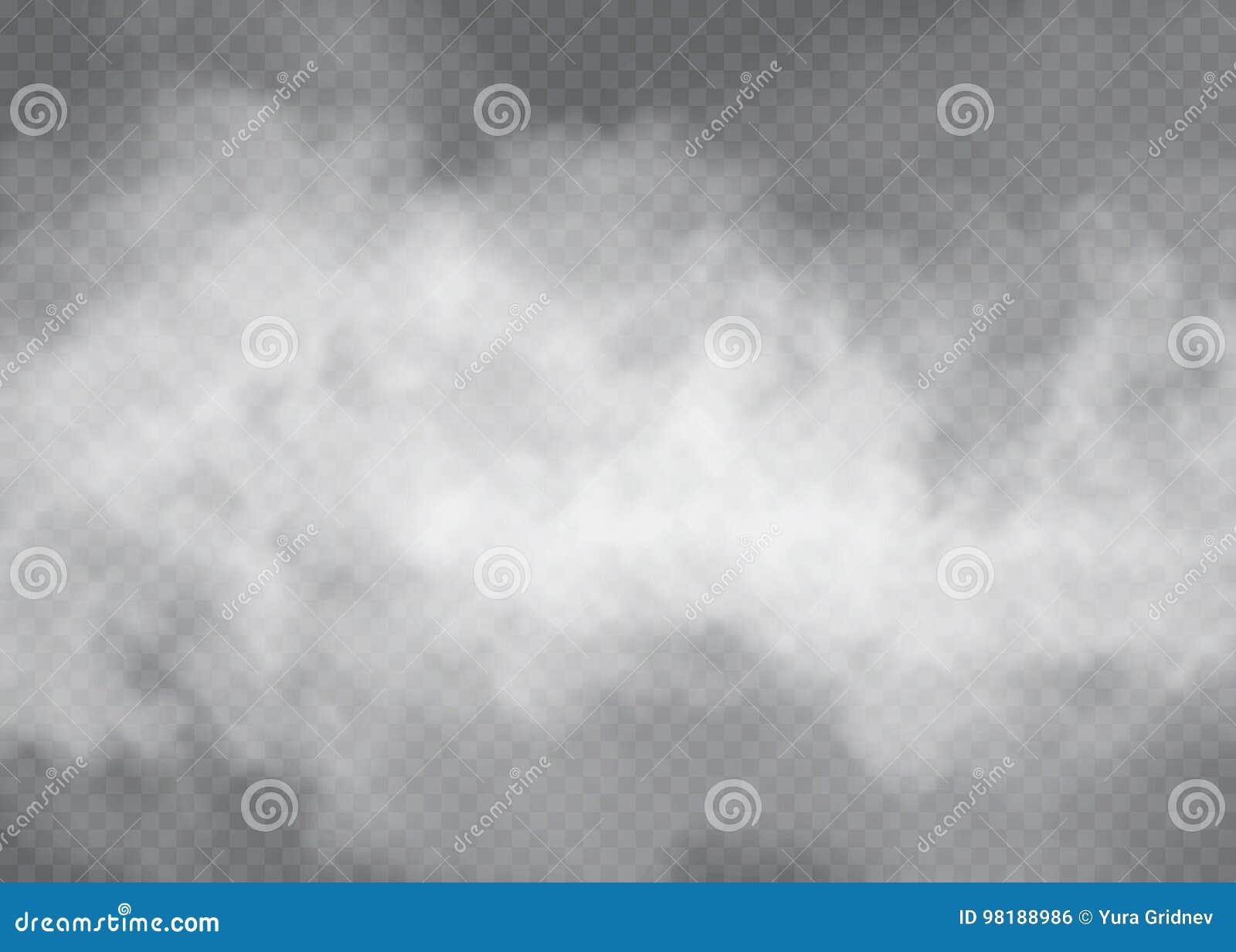 Effetto speciale trasparente del fumo o della nebbia Fondo bianco di opacità, della foschia o dello smog Illustrazione di vettore